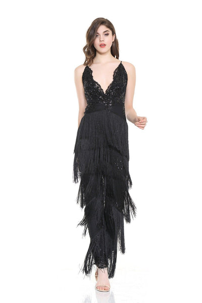 Black Beauty Sequin Tassel Jumpsuit