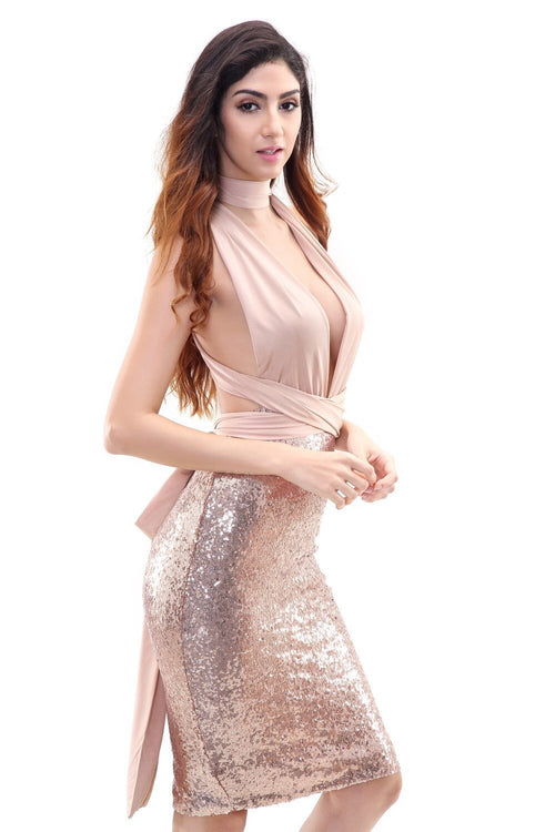 Loud & Clear Nude Halter Choker Sequined Dress