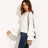 Rapid Ruffles White Frill Sleeve Top - Fashion Genie Boutique USA Alt