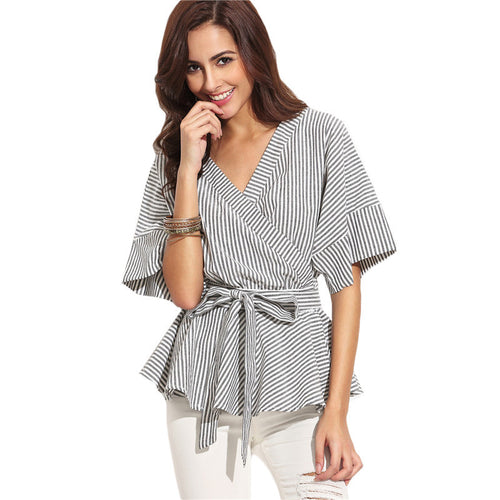 Teenage Dream Grey Striped Frill Sleeve Wrap Front Shirt - Fashion Genie Boutique USA Alt