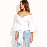 Selfish Girl White Exaggerated Sleeve Surplice Top - Fashion Genie Boutique USA Alt
