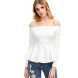 Stand Down White Bardot Peplum Top - Fashion Genie Boutique USA Alt