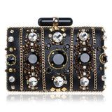 Elena Black Beaded Rhinestone Embellished Clutch Bag - Fashion Genie Boutique USA Alt
