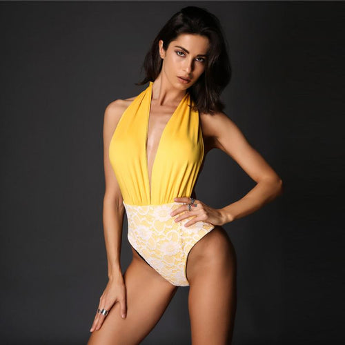 Livello Yellow Plunge Swimsuit - Fashion Genie Boutique
