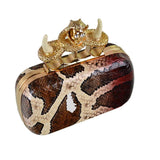 Teresa Red Snake Print Knuckle Clutch - Fashion Genie Boutique USA Alt