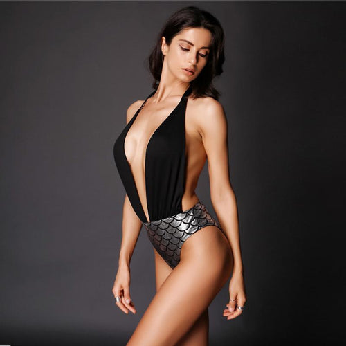 San Marino Black Metallic Plunge Swimsuit - Fashion Genie Boutique