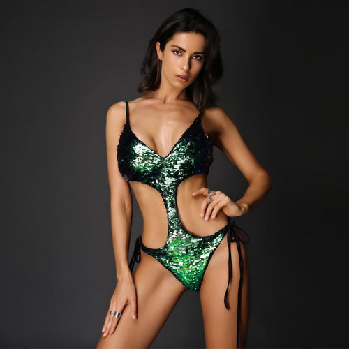 Hoola Goodness Green Sequin Monokini Swimsuit - Fashion Genie Boutique