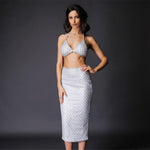 Under The Radar Silver Sequin Bralet & Midi Skirt Co Ord - Fashion Genie Boutique