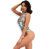 Long Beach Green Snake Print Swimsuit - Fashion Genie Boutique