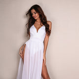 Flower of Love White Double Split Maxi Dress - Fashion Genie Boutique USA Alt