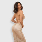 Under The Radar Gold Sequin Bralet & Midi Skirt Co Ord - Fashion Genie Boutique