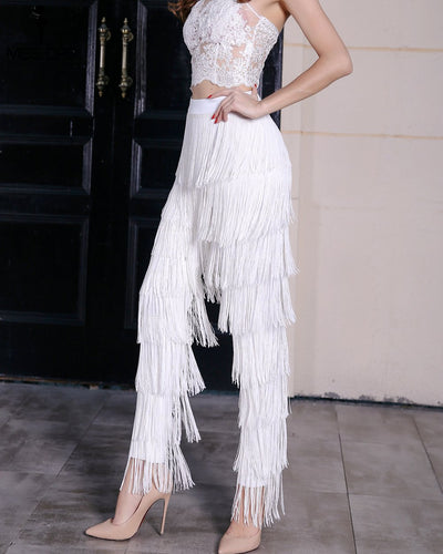 Ava White Fringe High Waisted Trousers - Fashion Genie Boutique