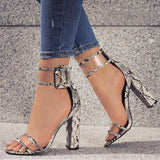 Slithering Snake Print High Heels - Fashion Genie Boutique USA Alt