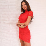 Make It Count Red Lace Mini Dress - Fashion Genie Boutique USA Alt