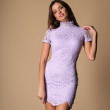 Make It Count Lavender Lace Mini Dress - Fashion Genie Boutique USA Alt