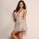 Shimmer And Shake Nude And Silver Sequin Tassel Playsuit Romper - Fashion Genie Boutique USA Alt