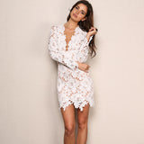 Wild Roses White Lace Long Sleeve Mini Dress - Fashion Genie Boutique USA Alt
