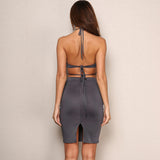 Bold And Bossy Grey Cut Out Halterneck Bandage Mini Dress - Fashion Genie Boutique USA Alt