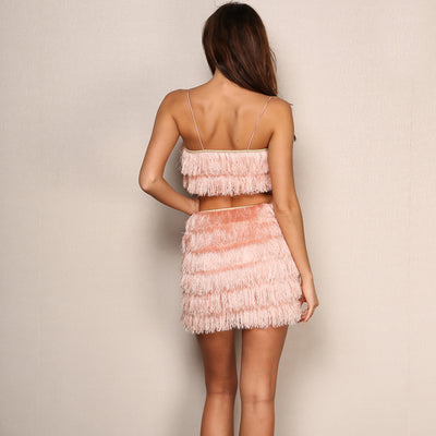 It Takes Two Pink Fringe Crop Top & Mini Skirt Co-Ord - Fashion Genie Boutique USA Alt