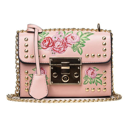Rose Embroidered Black Chain Crossbody Handbag - Fashion Genie Boutique USA Alt