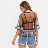 Summer Heat Black Mesh Frill Top - Fashion Genie Boutique