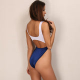 Easy Breeze Navy & White Cut Out Swimsuit - Fashion Genie Boutique