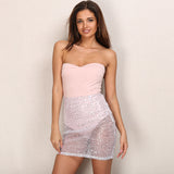 Sheer Envy Pink Mesh Sequin Strapless Mini Dress - Fashion Genie Boutique USA Alt