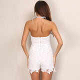Lace Lover White Crochet Lace Up Playsuit Romper - Fashion Genie Boutique USA Alt