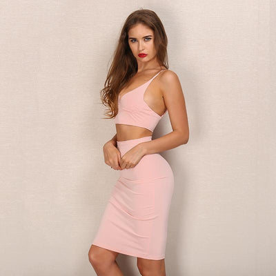 Voodoo Baby Pink Crop Top & Skirt Co Ord - Fashion Genie Boutique