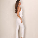 Set To Slay White Tie Waist Jumpsuit - Fashion Genie Boutique USA Alt