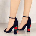 Iona Black Embroidered Chunky Heels - Fashion Genie Boutique USA Alt