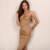 Weekend Girl Tan Slinky Mini Dress - Fashion Genie Boutique USA Alt