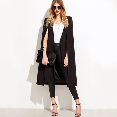 Day by Day Black Longline Cape Split Sleeve Blazer - Fashion Genie Boutique USA Alt