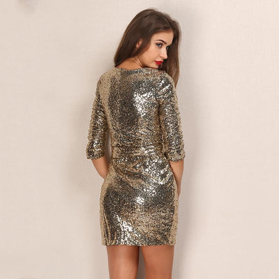 Solo Dancer Gold Sequin Wrap Mini Dress - Fashion Genie Boutique