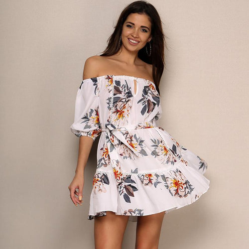 Koko White Floral Bardot Mini Dress - Fashion Genie Boutique