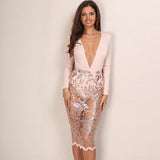 Tanya Nude & Gold Embellished Long Sleeved Lace Midi Dress - Fashion Genie Boutique USA Alt