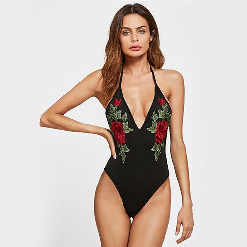 Hot-Cha-Cha Black Halter Embroidered Bodysuit - Fashion Genie Boutique