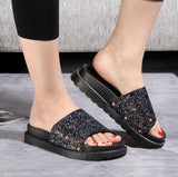 Stardom Black Glitter Sliders - Fashion Genie Boutique USA Alt