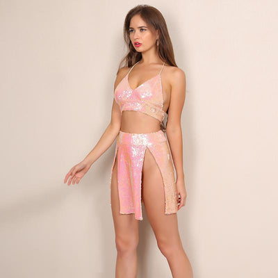 Air Kiss Pink Iridescent Sequin Crop Top & Mini Skirt Two Piece - Fashion Genie Boutique