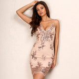 Girl Next Door Rose Gold Sequin Mini Dress - Fashion Genie Boutique USA Alt