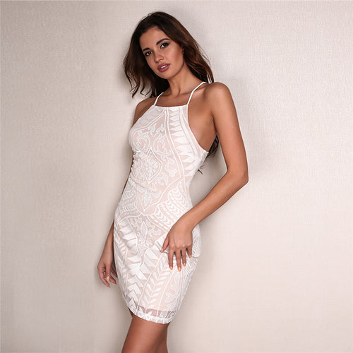 Saturday Sass White Mesh Mini Dress - Fashion Genie Boutique USA Alt