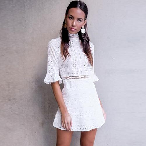 City Sleek White Mini Dress - Fashion Genie Boutique USA Alt