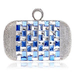 Annie Blue Silver Rhinestone Embellished Clutch Bag - Fashion Genie Boutique USA Alt