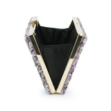 Nina Purple Stone Embellished Clutch Bag - Fashion Genie Boutique USA Alt