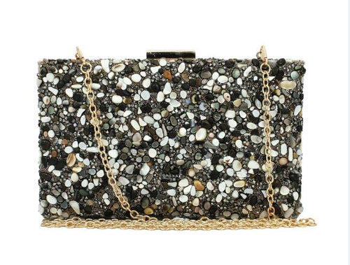 Nina Black Stone Embellished Clutch Bag - Fashion Genie Boutique USA Alt
