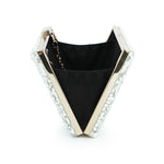Nina White Stone Embellished Clutch Bag - Fashion Genie Boutique USA Alt