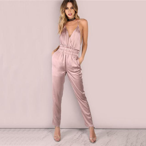 Knock Em Dead Pink Satin Jumpsuit - Fashion Genie Boutique USA Alt