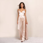 Flash Back Pink Slinky Double Split Maxi Dress - Fashion Genie Boutique USA Alt