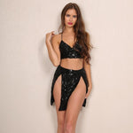 Air Kiss Black Sequin Crop Top & Mini Skirt Two Piece - Fashion Genie Boutique