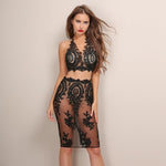 Aussie Babe Black Lace Crop Top & Mini Skirt Two Piece - Fashion Genie Boutique